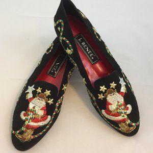 J. Renee Flocked Velvet Cowboy Santa Shoes NEW